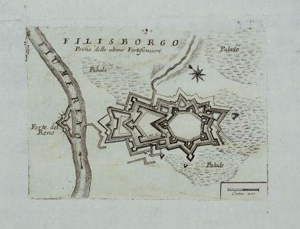 Antique Maps, Coronelli, Germany, Baden-Württemberg, Fortress Philippsburg: Filisborgo Prima delle ultime Fortificazioni