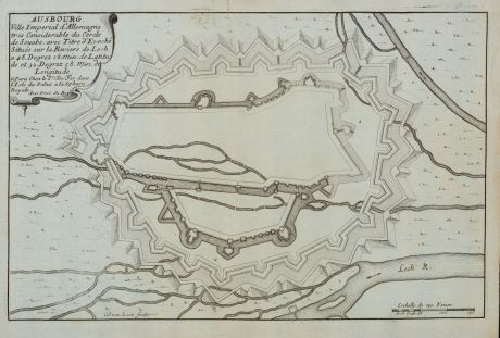 Antique Maps, de Fer, Germany, Bavaria, Augsburg, 1696: Ausbourg. Ville Imperial d'Allemagne...