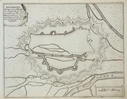 Antike Landkarten, de Fer, Deutschland, Bayern, Augsburg, 1695: Ausbourg. Ville Imperiale d'Allemagne...