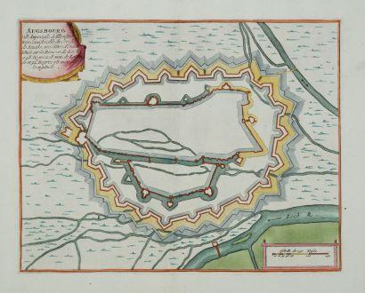 Antique Maps, de Fer, Germany, Bavaria, Augsburg, 1695: Ausbourg. Ville Imperiale d'Allemagne...