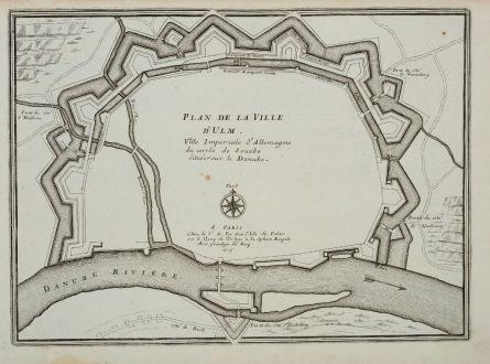 Antike Landkarten, de Fer, Deutschland, Baden-Württemberg, Ulm, 1696: Plan de la Ville d'Ulm. Ville Imperiale d'Allemagne du cercle de Souabe