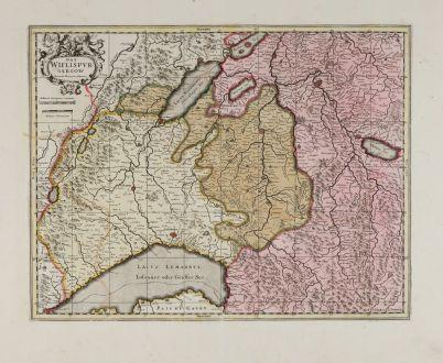 Antike Landkarten, Valk & Schenk, Schweiz, Genfer See, Fribourg, Vaud, Romandie: Das Wiflispurgergow. Gerardo Mercatore Auctore.