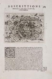 Antique Maps, Porcacchi, Central America - Caribbean, Mexico City, Tenochtitlan: Descrittione della gran citta, e isola Temistitan