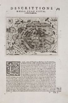 Antike Landkarten, Porcacchi, Mittelamerika - Karibik, Mexiko-Stadt, Tenochtitlan: Descrittione della gran citta, e isola Temistitan