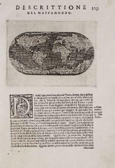 Antike Landkarten, Porcacchi, Weltkarte, 1572: Descrittione del Mappamondo