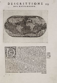 Antike Landkarten, Porcacchi, Weltkarten, 1572: Descrittione del Mappamondo