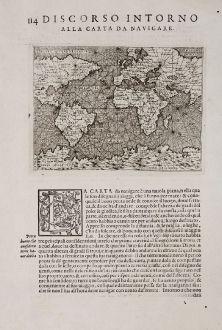 Antike Landkarten, Porcacchi, Weltkarte, 1572: Discorso Intorno alla Carta da Navigare