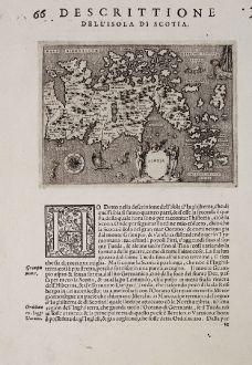 Antique Maps, Porcacchi, British Isles, Scotland, 1572: Scotia - Descrittione dell'Isola di Scotia.