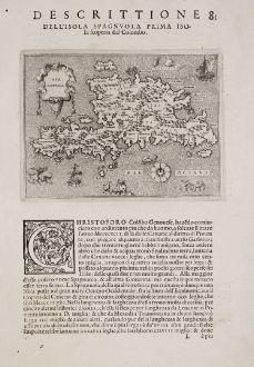 Antike Landkarten, Porcacchi, Mittelamerika - Karibik, Hispaniola, Haiti, 1572: Spagnuola - Spagnvola - Descrittione dell' Isola Spagnuola prima Isola scoperta dal Colombo
