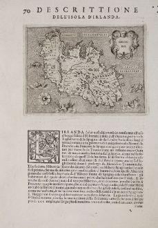 Antike Landkarten, Porcacchi, Britische Inseln, Irland, 1572: Irlanda - Descrittione dell'Isola d'Irlanda.