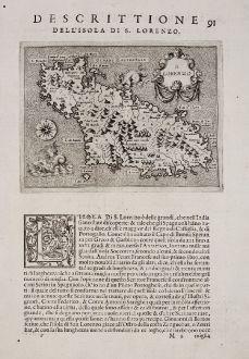 Antique Maps, Porcacchi, South Africa, S. Lorenzo, Madagascar, 1572: S. Lorenzo - Descrittione dell'Isola di S. Lorenzo.