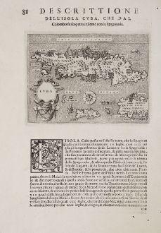 Antike Landkarten, Porcacchi, Mittelamerika - Karibik, Cayman, Jamaika, Kuba: Cuba - Cvba - Descrittione dell' Isola Cuba, che dal Colombo