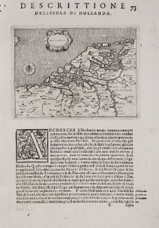 Antique Maps, Porcacchi, Netherlands, 1572: Hollanda - Descrittione dell'Isola di Hollanda.