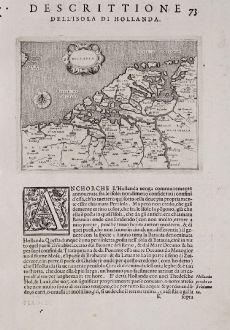 Antike Landkarten, Porcacchi, Niederlande, 1572: Hollanda - Descrittione dell'Isola di Hollanda.