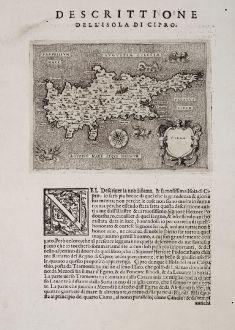 Antike Landkarten, Porcacchi, Zypern, 1572: Cipro - Descrittione dell'Isola di Cipro.