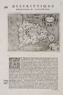 Antique Maps, Porcacchi, India, Ceylon, Sri Lanka, Sumatra, 1572: Taprobana - Descrittione dell'Isola di Taprobana