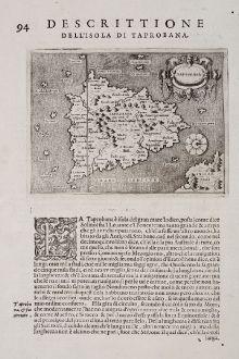 Antike Landkarten, Porcacchi, Indien, Ceylon, Sri Lanka, Sumatra, 1572: Taprobana - Descrittione dell'Isola di Taprobana