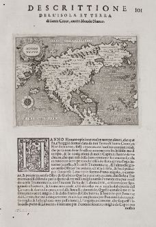 Antique Maps, Porcacchi, North America, 1572: Mondo Nuovo - Descrittione dell'Isola et Terra di di Santa Croce, ouero Mondo Nuovo.
