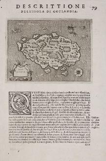 Antike Landkarten, Porcacchi, Schweden, Gotland, 1572: Gotlandia - Descrittione dell'Isola di Gotlandia.