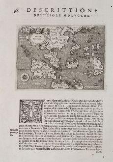 Antike Landkarten, Porcacchi, Südost Asien, 1572: Isole Molucche - Isole Molvcche - Descrittione dell'Isola Molucche