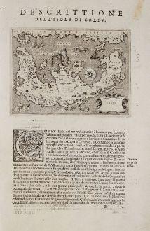 Antike Landkarten, Porcacchi, Griechenland, Korfu, 1572: Corfu - Descrittione dell'Isola di Corfu.