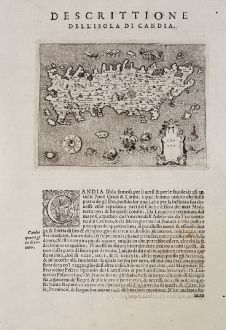 Antique Maps, Porcacchi, Greece, Crete, 1572: Candia - Descrittione dell'Isola di Candia.