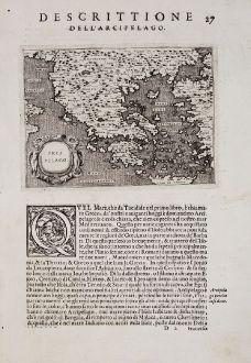 Antique Maps, Porcacchi, Greece, 1572: Arcipelago - Descrittione dell'Arcipelago.