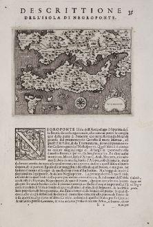Antike Landkarten, Porcacchi, Griechenland, Negroponte, Euböa, 1572: Negroponte - Descrittione dell'Isola di Negroponte.