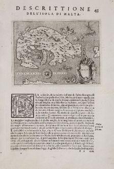 Antike Landkarten, Porcacchi, Malta, 1572: Malta - Descrittione dell'Isola di Malta.