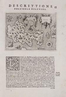 Antique Maps, Porcacchi, Italy, Elba, 1572: Elba - Descrittione dell'Isola dell'Elba.