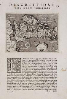 Antike Landkarten, Porcacchi, Britische Inseln, 1572: Inghilterra - Descrittione dell'Isola d'Inghilterra.