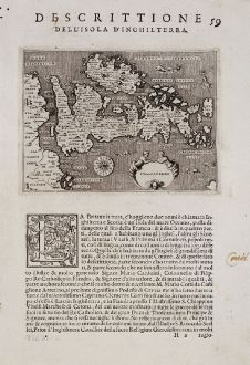 Antique Maps, Porcacchi, British Isles, 1572: Inghilterra - Descrittione dell'Isola d'Inghilterra.