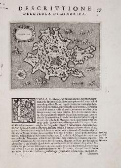 Antike Landkarten, Porcacchi, Spanien - Portugal, Balearen, Menorca, 1572: Minorica - Descrittione dell'Isola di Minorica.