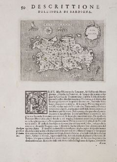 Antike Landkarten, Porcacchi, Italien, Sardegna, Sardinien, 1572: Sardegna - Descrittione dell'Isola di Sardigna.