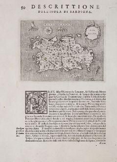 Antique Maps, Porcacchi, Italy, Sardegna, Sardinia, 1572: Sardegna - Descrittione dell'Isola di Sardigna.