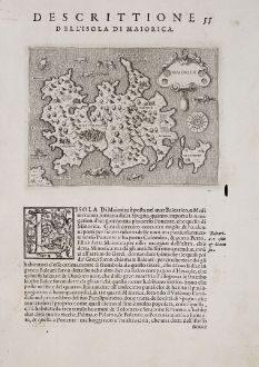 Antique Maps, Porcacchi, Spain - Portugal, Balearic Islands, Majorca, Mallorca: Maiorica - Descrittione dell'Isola di Maiorica.