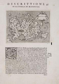Antike Landkarten, Porcacchi, Spanien - Portugal, Balearen, Mallorca, 1572: Maiorica - Descrittione dell'Isola di Maiorica.