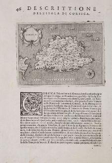 Antique Maps, Porcacchi, France, Corse, Corsica, 1572: Corsica - Descrittione dell'Isola di Corsica.