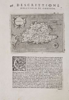 Antike Landkarten, Porcacchi, Frankreich, Corse, Korsika, 1572: Corsica - Descrittione dell'Isola di Corsica.