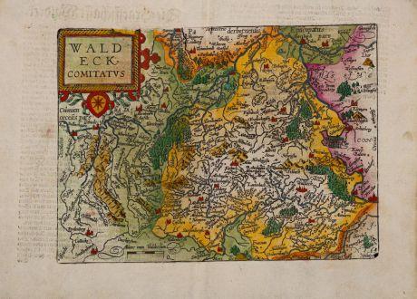 Antique Maps, Quad, Germany, Hesse, Hessen, Waldeck, 1600: Waldeck, Comitatus
