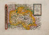 Kolorierte Landkarte von Nordrhein-Westfalen. Gedruckt bei J. Bussemacher um 1600 in Köln.