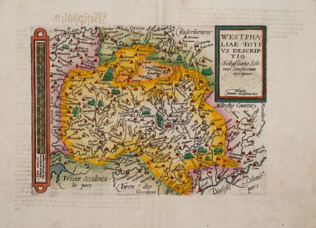 Antique Maps, Quad, Germany, Nordrhein-Westfalen, North Rhine-Westphalia: Westphaliae totius descriptio