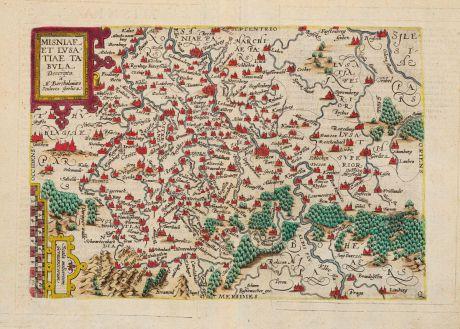 Antique Maps, Quad, Germany, Brandenburg, Sachsen, Meißen, Lausitz, 1600: Misniae Et Lusatiae Tabula
