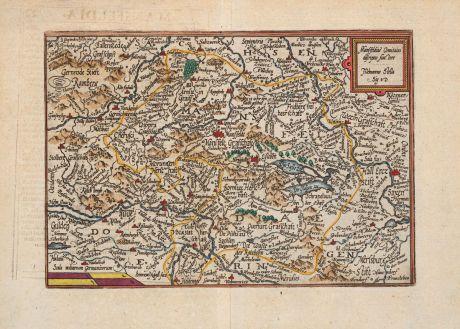 Antike Landkarten, Quad, Deutschland, Sachsen-Anhalt, Mansfeld, 1600: Mansfeldiae Comitatus descriptio Auctore, Tilemanno Stella Sig.