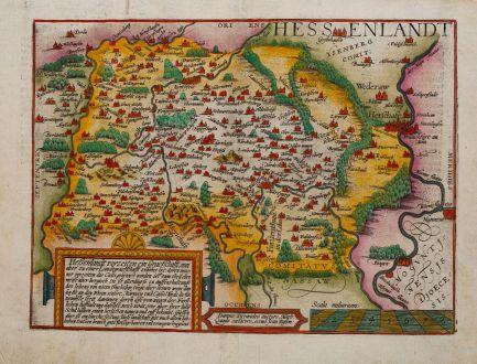 Antike Landkarten, Quad, Deutschland, Hessen, Frankfurt, 1600: Hessenlandt vorzeiten ein Graeffschafft, nun aber zu einer Landtgraefschafft erhohet ist.