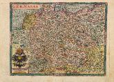 Kolorierte Landkarte von Deutschland. Gedruckt bei J. Bussemacher um 1600 in Köln.