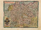 Coloured map of Germany. Printed in Cologne by J. Bussemacher circa 1600.