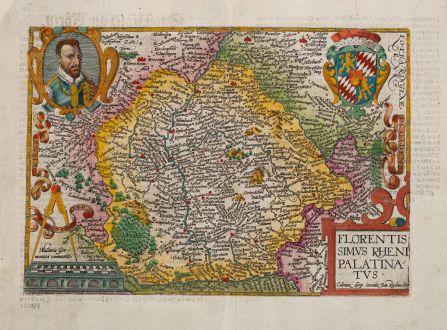 Antike Landkarten, Quad, Deutschland, Rheinland-Pfalz, 1600: Florentissimus Rheni Palatinatus