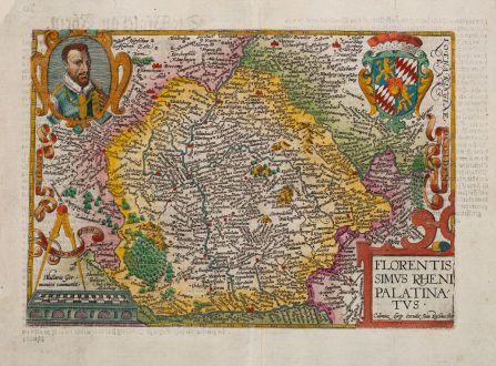 Antique Maps, Quad, Germany, Rhineland-Palatinate, Rheinland-Pfalz, 1600: Florentissimus Rheni Palatinatus
