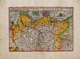 Coloured map of Northern Germany. Printed in Cologne by J. Bussemacher circa 1600.